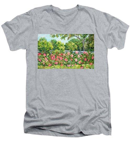 Landscape With Roses Fence Men's V-Neck T-Shirt