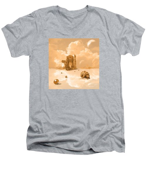 Men's V-Neck T-Shirt featuring the digital art Landscape With Shell by Alexa Szlavics