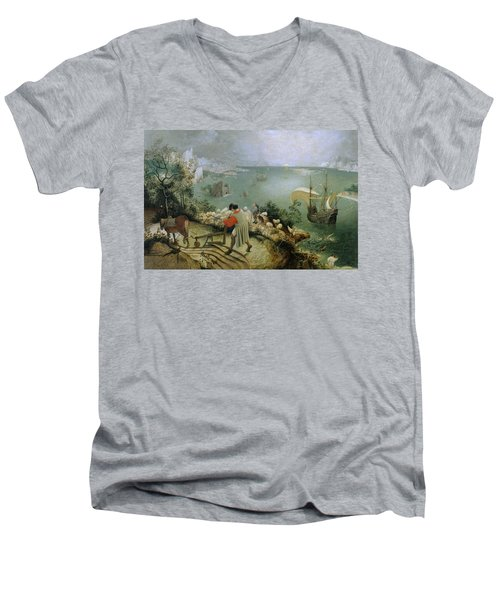 Landscape With The Fall Of Icarus Men's V-Neck T-Shirt