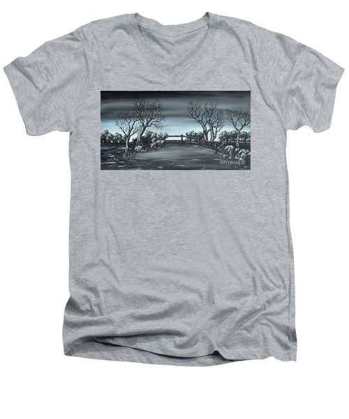 Men's V-Neck T-Shirt featuring the painting Landsend by Kenneth Clarke