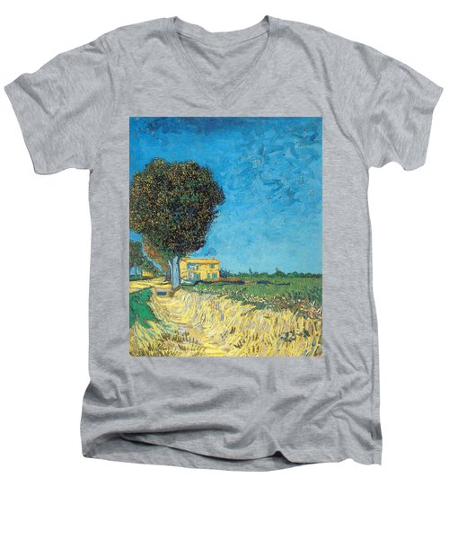 Men's V-Neck T-Shirt featuring the painting Lane Near Arles by Van Gogh