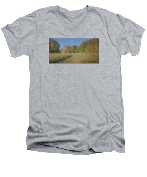 Langwater Farm With Pumpkins And Chateau Men's V-Neck T-Shirt