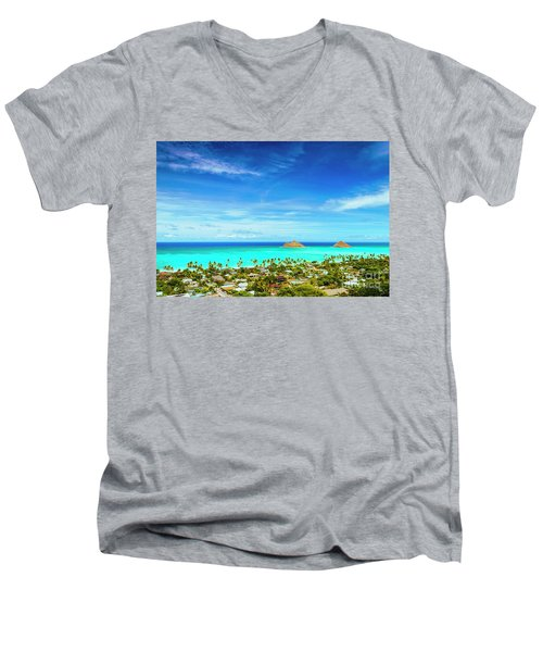 Men's V-Neck T-Shirt featuring the photograph Lanikai Beach From The Pillbox Trail by Aloha Art