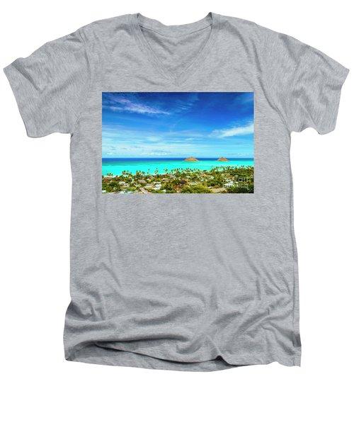 Lanikai Beach From The Pillbox Trail Men's V-Neck T-Shirt
