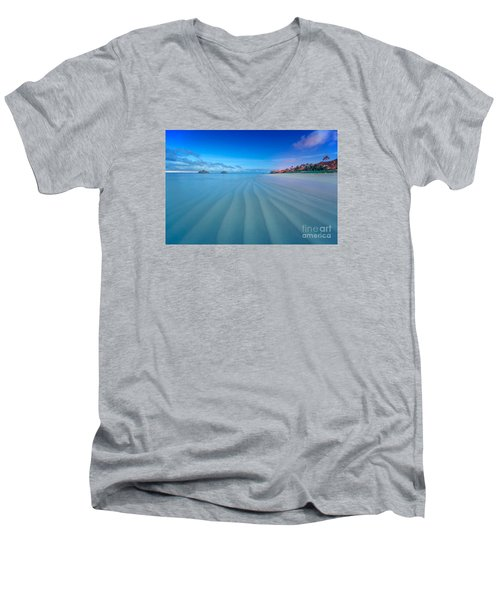 Men's V-Neck T-Shirt featuring the photograph Lanikai Beach Ripples In The Sand Wide by Aloha Art