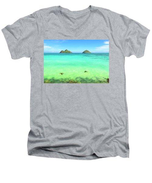 Lanikai Beach Two Sea Turtles And Two Mokes Men's V-Neck T-Shirt by Aloha Art