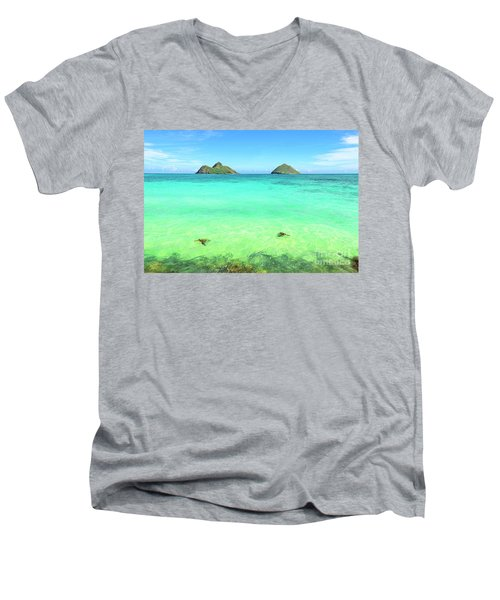Lanikai Beach Two Sea Turtles And Two Mokes Men's V-Neck T-Shirt