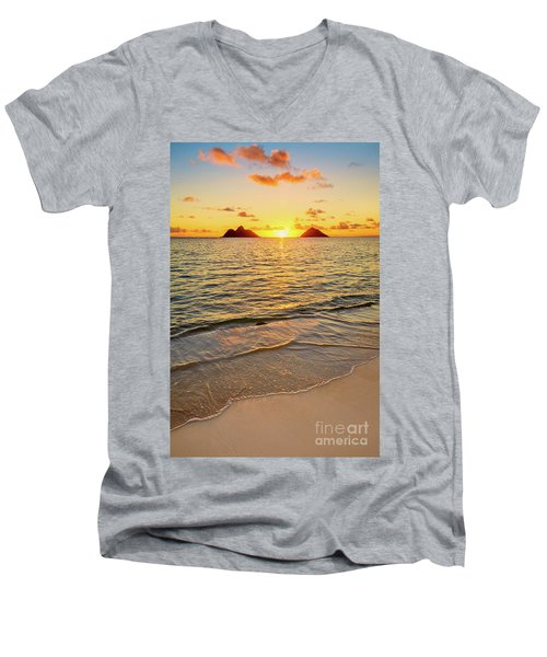 Lanikai Sunrise Between The Mokes Men's V-Neck T-Shirt