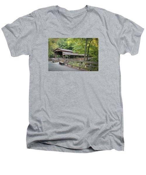 Lanterman's Mill Covered Bridge Men's V-Neck T-Shirt