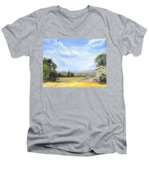 Men's V-Neck T-Shirt featuring the painting Lapoint Utah by Jane Autry
