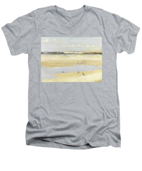 Lapwings By The Sea Men's V-Neck T-Shirt by William James Laidlay