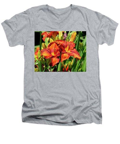 Large Deep Orange Tiger Lilys Men's V-Neck T-Shirt