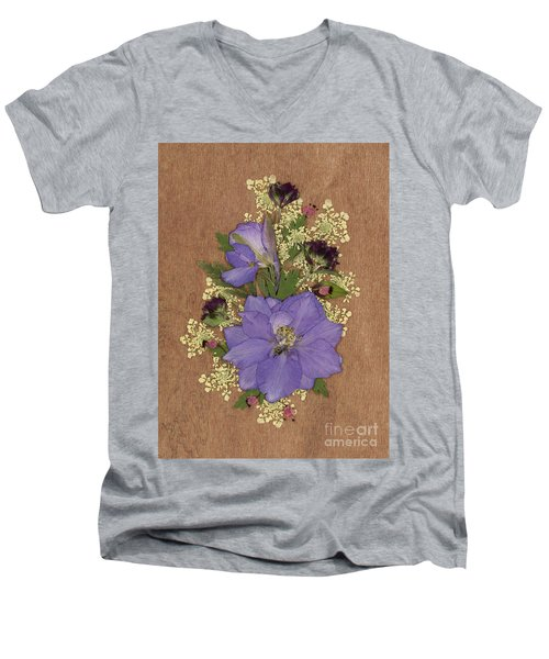 Larkspur And Queen-ann's-lace Pressed Flower Arrangement Men's V-Neck T-Shirt