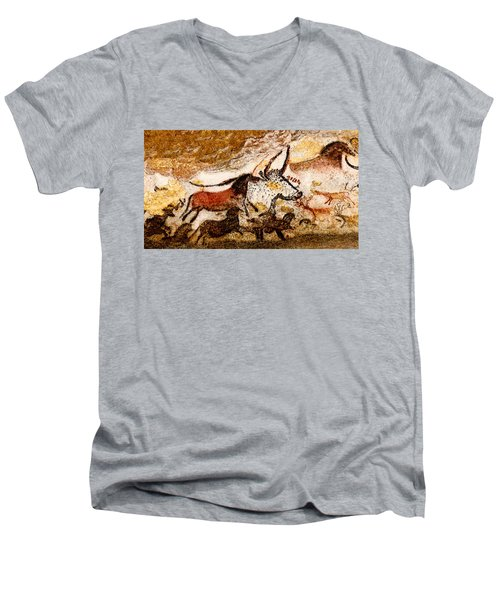 Lascaux Hall Of The Bulls - Horses And Aurochs Men's V-Neck T-Shirt