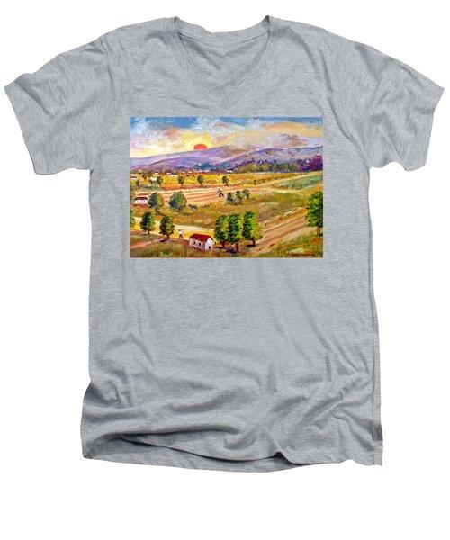 Lasithi Valley In Greece Men's V-Neck T-Shirt