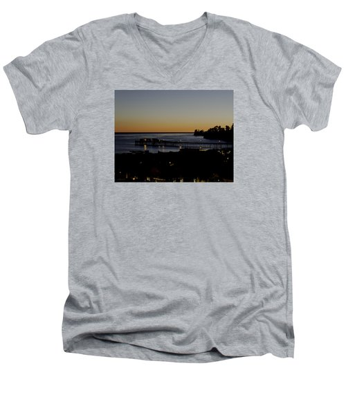 Men's V-Neck T-Shirt featuring the photograph Last 2015 Sunset by Lora Lee Chapman