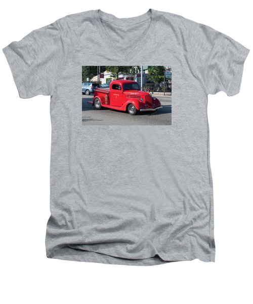 Men's V-Neck T-Shirt featuring the photograph Last Chance Hose Company by Suzanne Gaff
