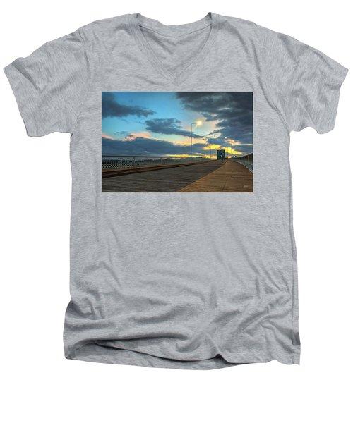 Last Light And Color Over Walnut Men's V-Neck T-Shirt by Steven Llorca