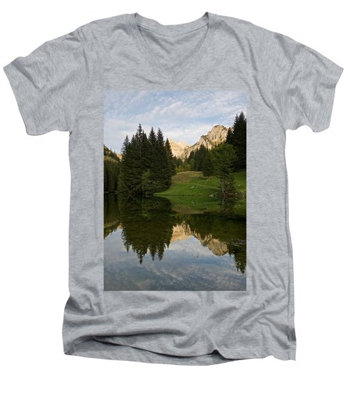 Last Light At Lac De Fontaine Men's V-Neck T-Shirt
