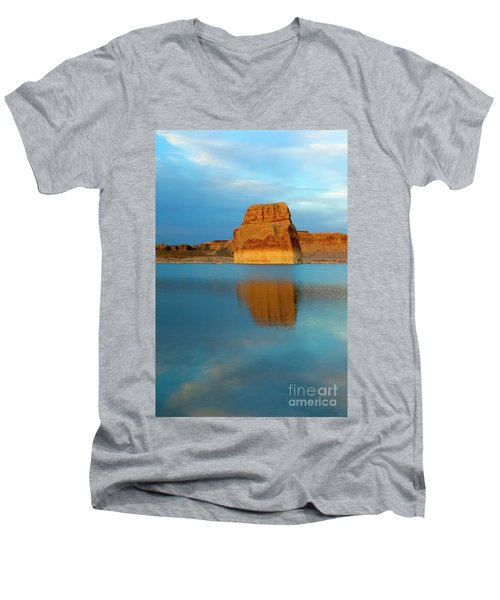Men's V-Neck T-Shirt featuring the photograph Last Light At Lone Rock by Mike Dawson