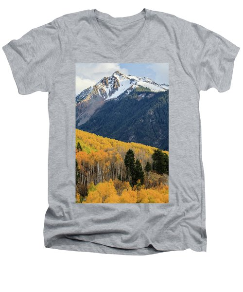 Men's V-Neck T-Shirt featuring the photograph Last Light Of Autumn Vertical by David Chandler