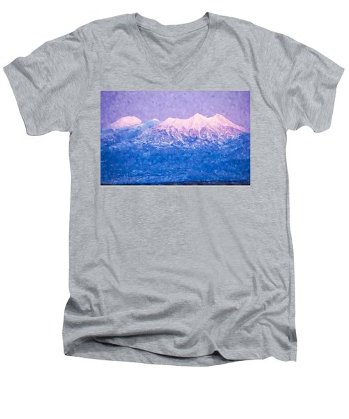 Last Light On Mount Peale From Buck Canyon Overlook Men's V-Neck T-Shirt by Kai Saarto