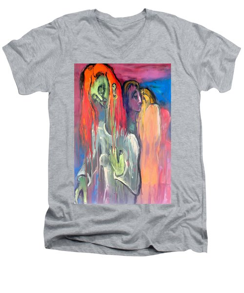 Men's V-Neck T-Shirt featuring the painting Last Original Lineup by Kenneth Agnello
