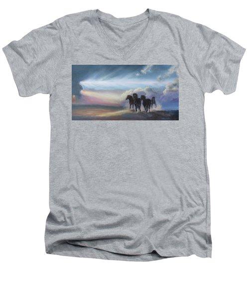 Last Run Of The Day Men's V-Neck T-Shirt by Karen Kennedy Chatham