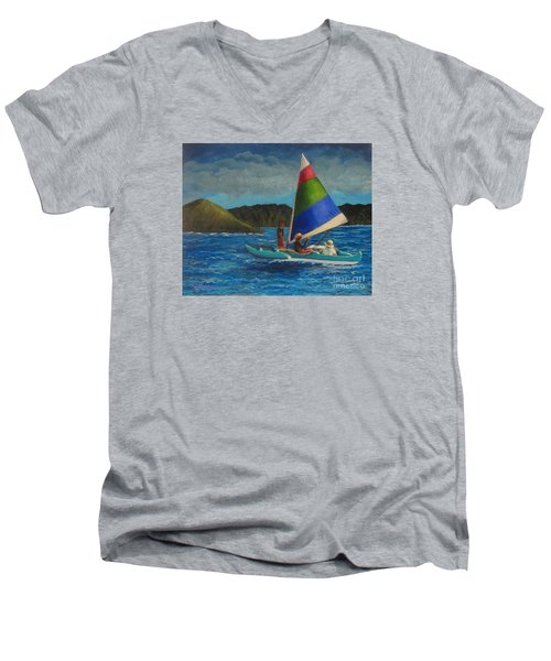Last Sail Before The Storm Men's V-Neck T-Shirt by Laurie Morgan