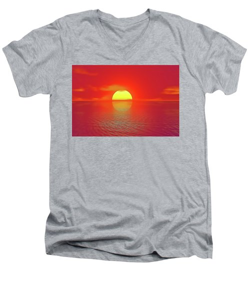 Men's V-Neck T-Shirt featuring the painting Last Sunset by Harry Warrick