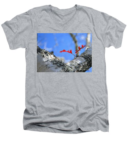 Last To Leaf Men's V-Neck T-Shirt by Debbie Karnes