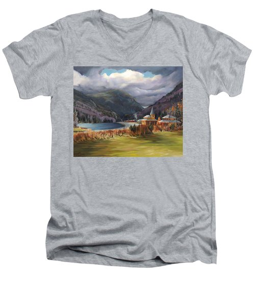 Last Train To Crawford Notch Depot Men's V-Neck T-Shirt