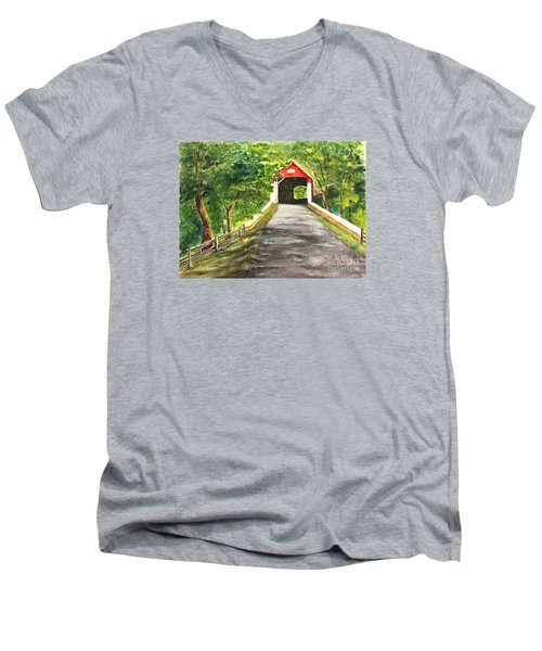 Late Afternoon At Knechts Covered Bridge   Men's V-Neck T-Shirt by Lucia Grilletto