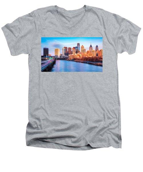 Late Afternoon In Philadelphia Men's V-Neck T-Shirt