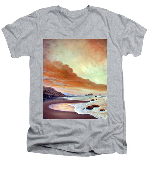 Late Afternoon On San Simeon Beach Men's V-Neck T-Shirt by Michael Rock