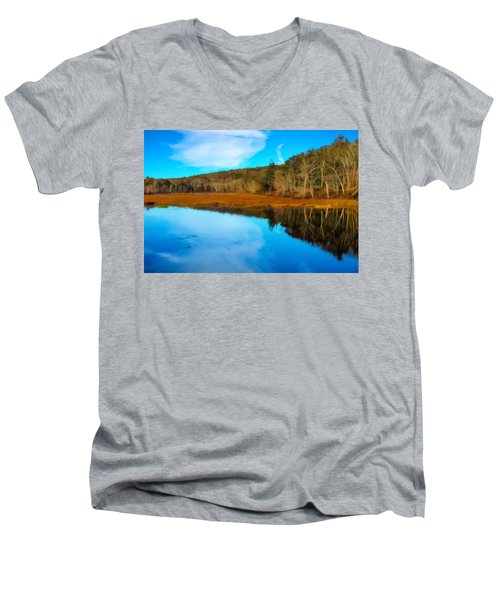 Late Fall At A Connecticut Marsh. Men's V-Neck T-Shirt