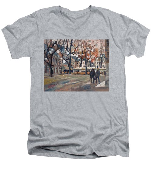 Late November At The Our Lady Square Maastricht Men's V-Neck T-Shirt by Nop Briex