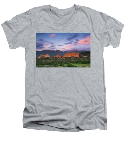 Men's V-Neck T-Shirt featuring the photograph Late Spring Sunrise by Tim Reaves