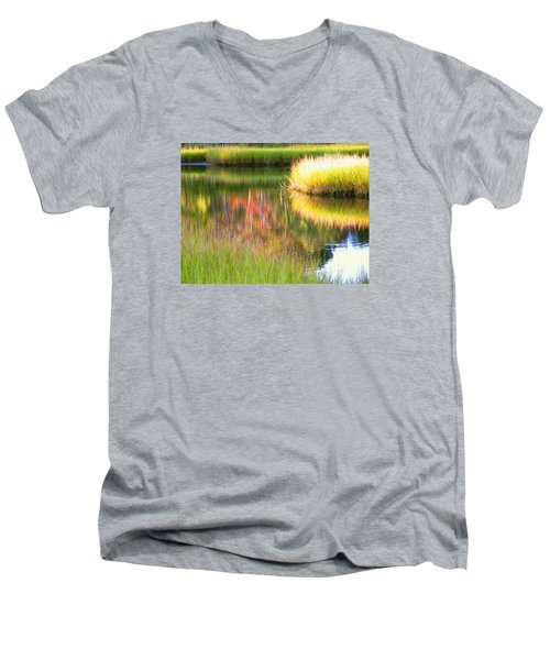 Stillness Of Late Summer Marsh  Men's V-Neck T-Shirt