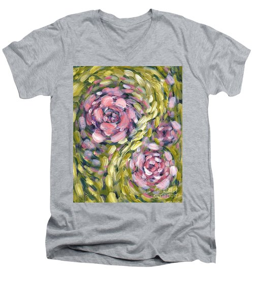 Men's V-Neck T-Shirt featuring the digital art Late Summer Whirl by Holly Carmichael