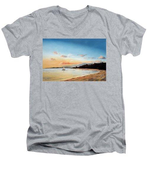 Late Sunset Along The Beach Men's V-Neck T-Shirt