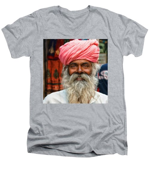 Laughing Indian Man In Turban Men's V-Neck T-Shirt