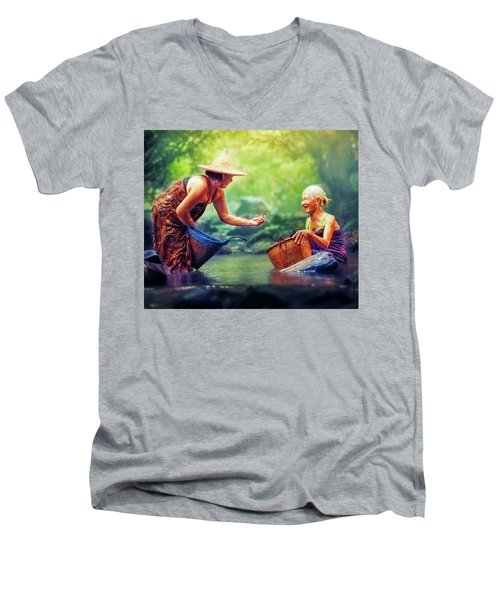 Men's V-Neck T-Shirt featuring the photograph Laughter by Bellesouth Studio