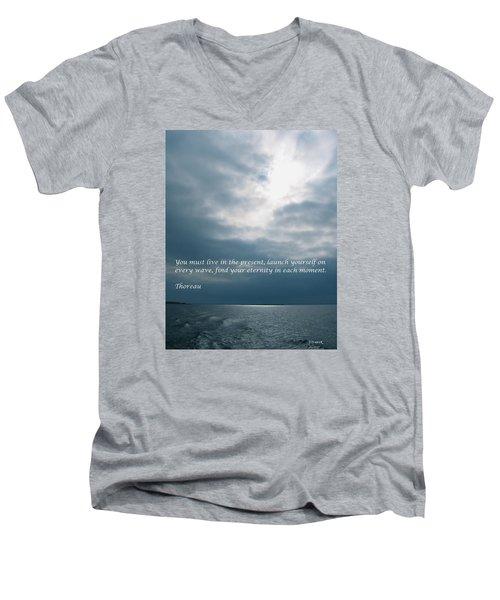 Launch Yourself On Every Wave Men's V-Neck T-Shirt by Deborah Dendler