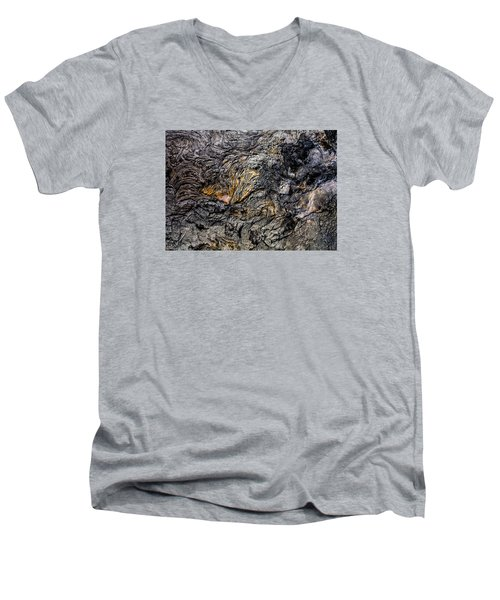 Men's V-Neck T-Shirt featuring the photograph Lava by M G Whittingham