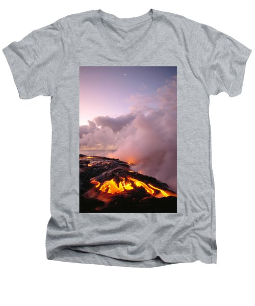 Lava Flows At Sunrise Men's V-Neck T-Shirt by Peter French - Printscapes