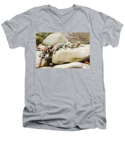Lava Lizard On Galapagos Islands Men's V-Neck T-Shirt