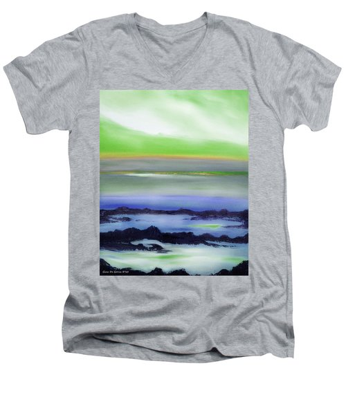 Lava Rock Abstract Sunset In Blue And Green Men's V-Neck T-Shirt