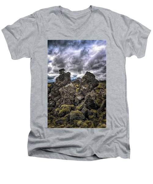 Lava Rock And Clouds Men's V-Neck T-Shirt