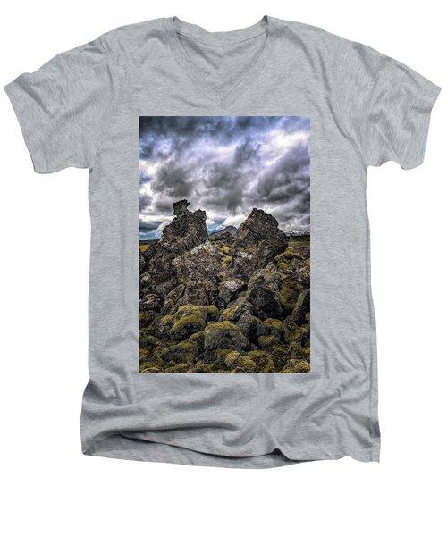 Lava Rock And Clouds Men's V-Neck T-Shirt